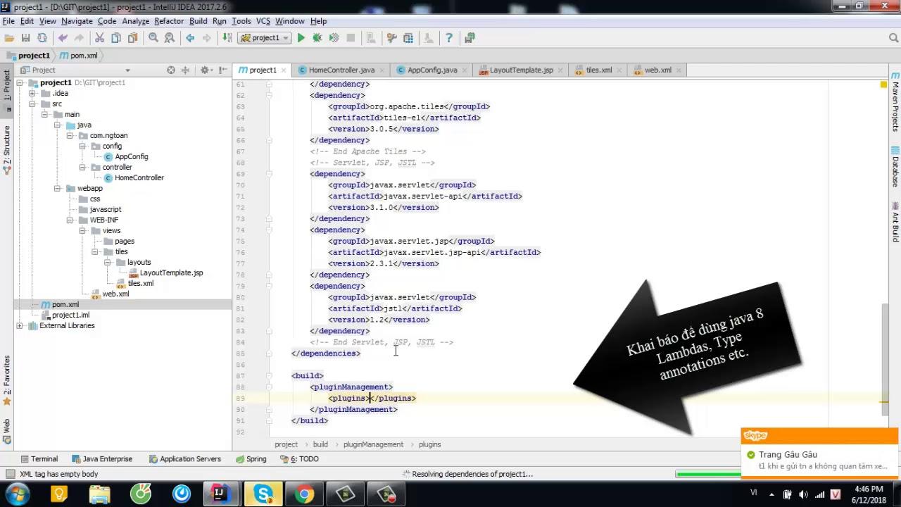 Create Spring MVC application with IntelliJ, Maven, Tiles
