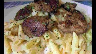 Chicken Livers With Kraut Flecken ~ Cabbage & Pasta Recipe