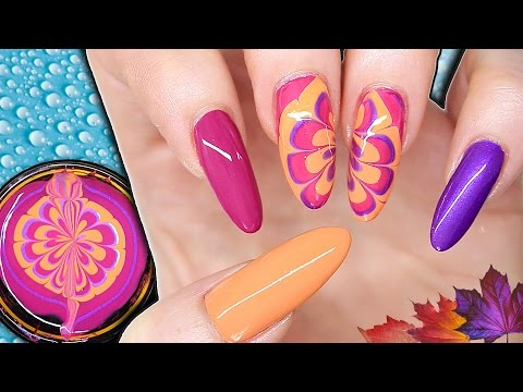 EASY WATER MARBLE FLOWER NAIL ART - AUTUMN/FALL INSPIRED NAILS