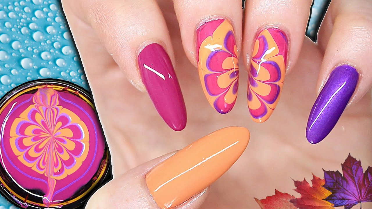 Easy Water Marble Flower Nail Art Autumnfall Inspired Nails Youtube