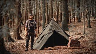 Solo Bushcraft Camp using Traditional Gear: Canvas Lavvu, Wool Blanket, Sheepskin Bed