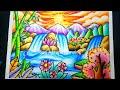 Cara Menggambar Gunung Dan Air Terjun Dengan Gradasi Drawing Scenery Of Mountain And Waterfall