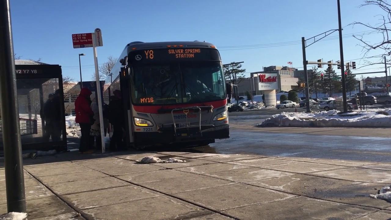 WMATA Washington, D C  MetroBus Route Y8 to SILVER SPRING STATION