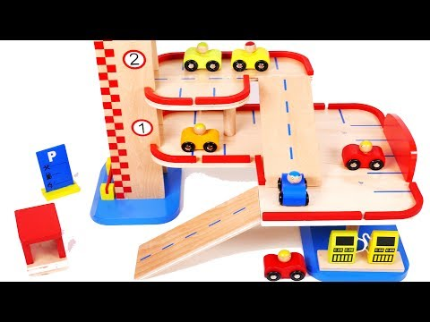 Parking Garage Toy Car Vehicles Playset Learn Colors Gas Pump for Children