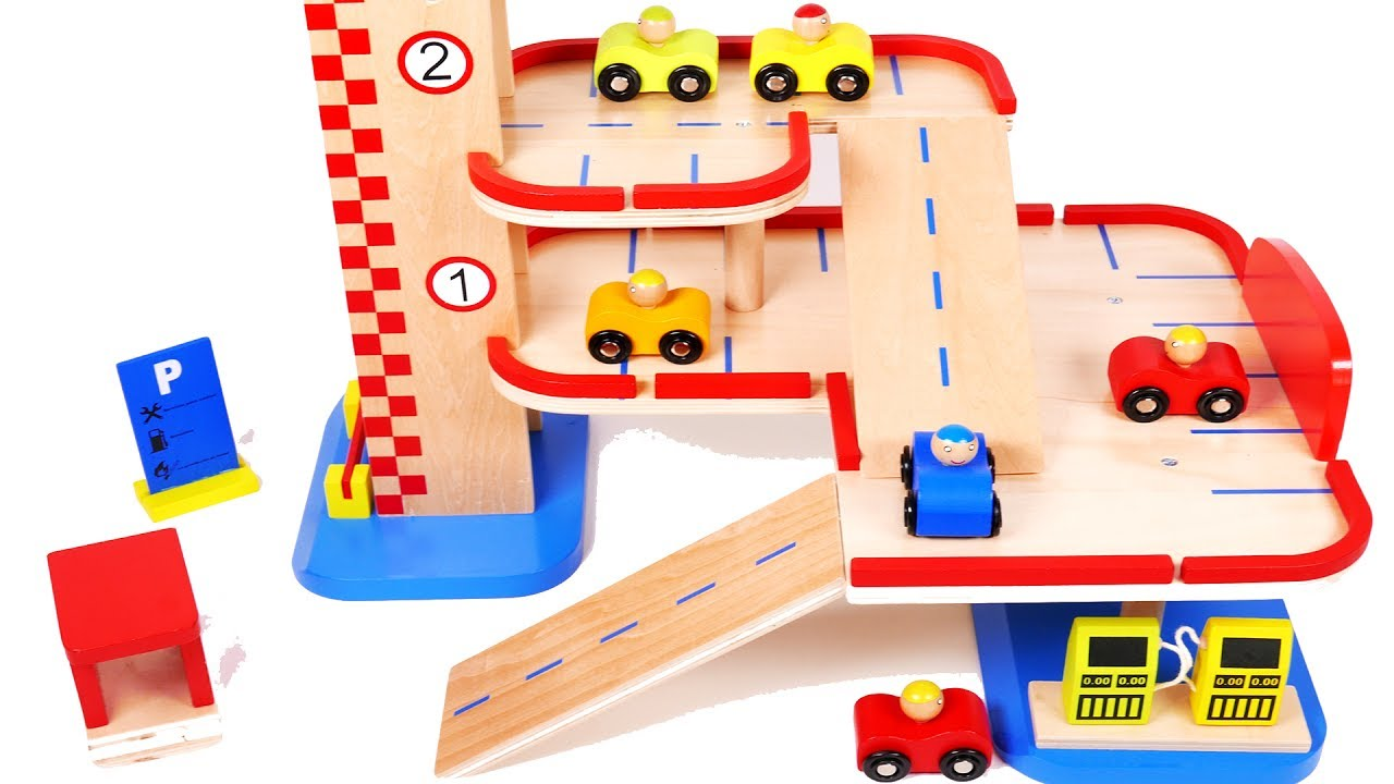 Parking Garage Toy Car Vehicles Playset Learn Colors Gas