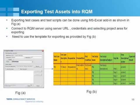 Exporting test assets into RQM