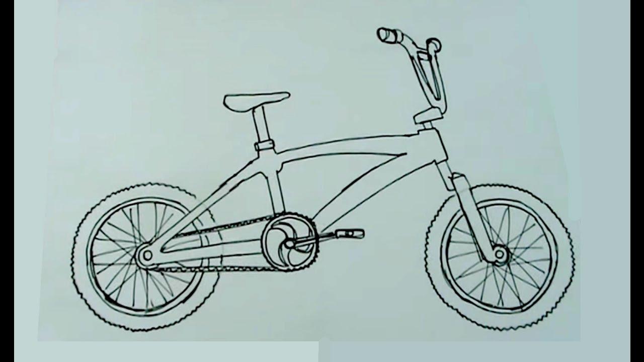 C mo dibujar muy f cil una biciross bicicleta cross bmx for Comedor facil de dibujar