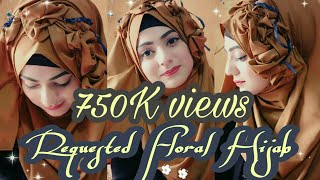 Most requested! Floral Hijab Tutorial❤ For parties and wedding functions ❤