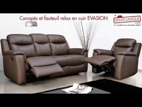 Canapés et fauteuil relax en cuir EVASION