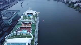 Big cruise boat filmed by drone in Amsterdam, Nederland