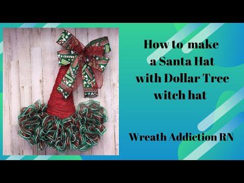 Dollar Tree Christmas Hat, Santa Hat, Ruffle Method