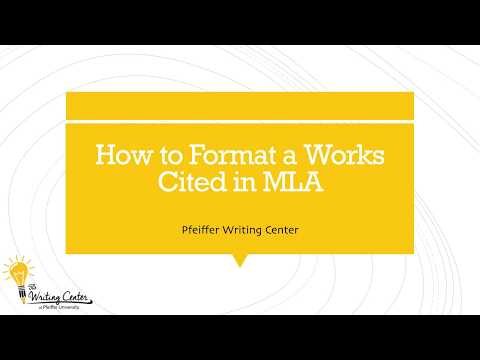 How to Format an MLA Works Cited Page
