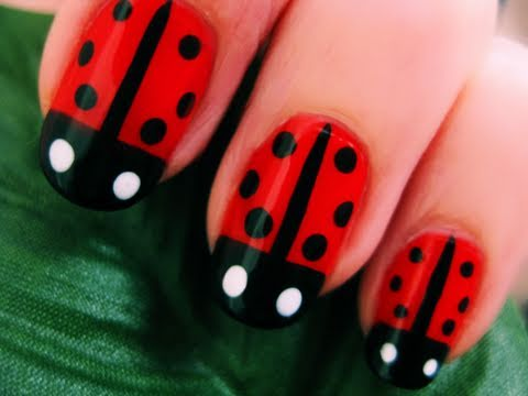 Cute Easy Lady Bug Nail Art Youtube
