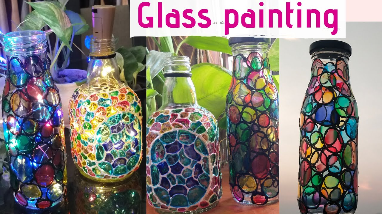Bottle Crafts Glass Painting On For Begginers Malayalamtutorial Youtube