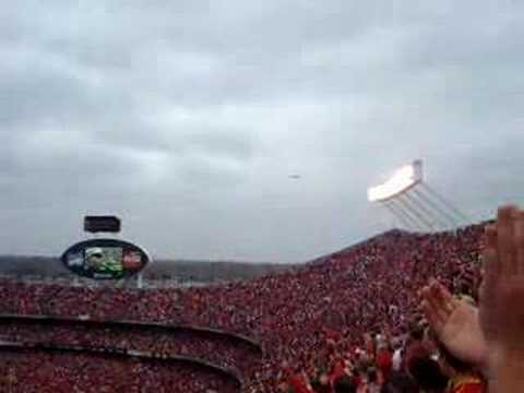 Stealth bomber flyover at Arrowhead stadium