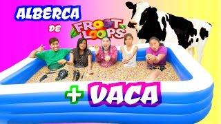ALBERCA de FROOT LOOPS con una VACA y SUSCRIPTORES | Extra Palomitas Flow thumbnail