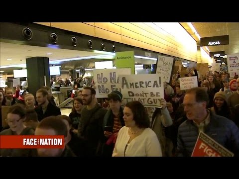 After immigration ban, airports flooded with protesters