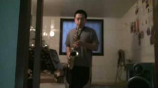 jazz rock sax -- alto sax solo //claude lakey rubber mouthpiece//曾令恩