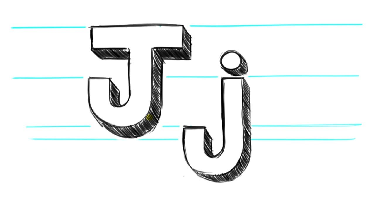 how to draw 3d letters j uppercase j and lowercase j in 90 seconds youtube