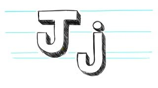 How to Draw 3D Letters J - Uppercase J and Lowercase j in 90 seconds
