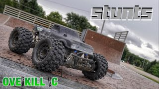 Skate Park STUNTS w/ the 4s LiPo Stampede 4x4 | Running Footage | Overkill RC