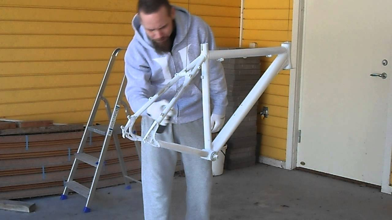 bike frame repaint pt 1 ground color for logo decal