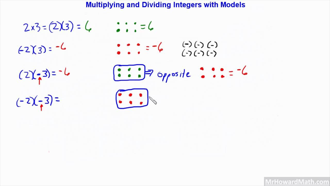 worksheet Dividing Integers multiplying and dividing integers positive negative with models 7gr17 hd