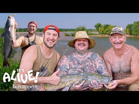 Brad and Matty Matheson Go Noodling for Catfish Part 1 | It's Alive | Bon Apptit
