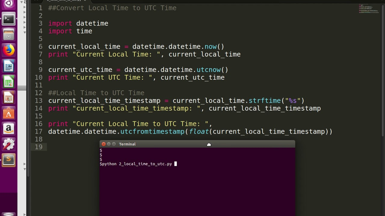 Python Convert Current Local Time to UTC Time