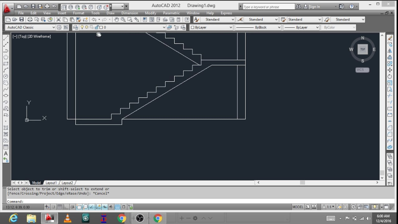 Front Elevation Of Dog Legged Staircase : How to draw a dog legged staircase youtube