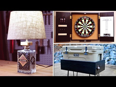 DIY Bottle Lamp, Dartboard Cabinet & YETI Patio Cooler Stand   How To - Woodworking