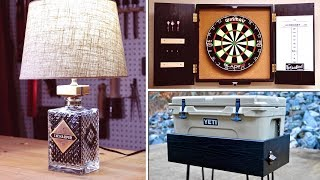 DIY Bottle Lamp, Dartboard Cabinet & YETI Patio Cooler Stand | How To - Woodworking