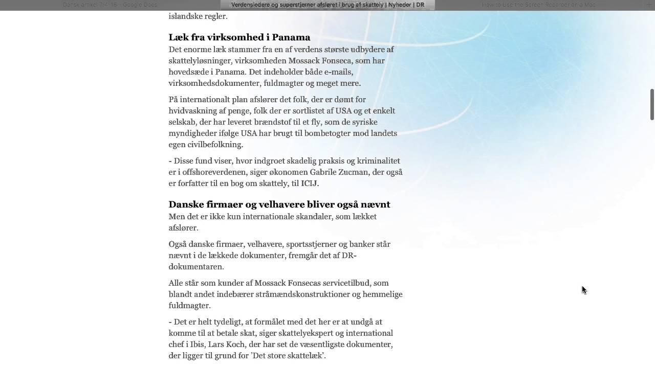 Dansk - Redegørelse af DR's artikel om Panama-skandalen
