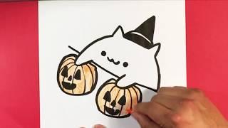 How to Draw Bongo Cat - Halloween Version - Halloween Drawings