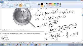 Alberta Mathematics Achievement Test 2013 grade 9 Circle, angle, 3d object surface area, tangent