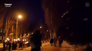 Взрыв во время факельного шествия в Славянске