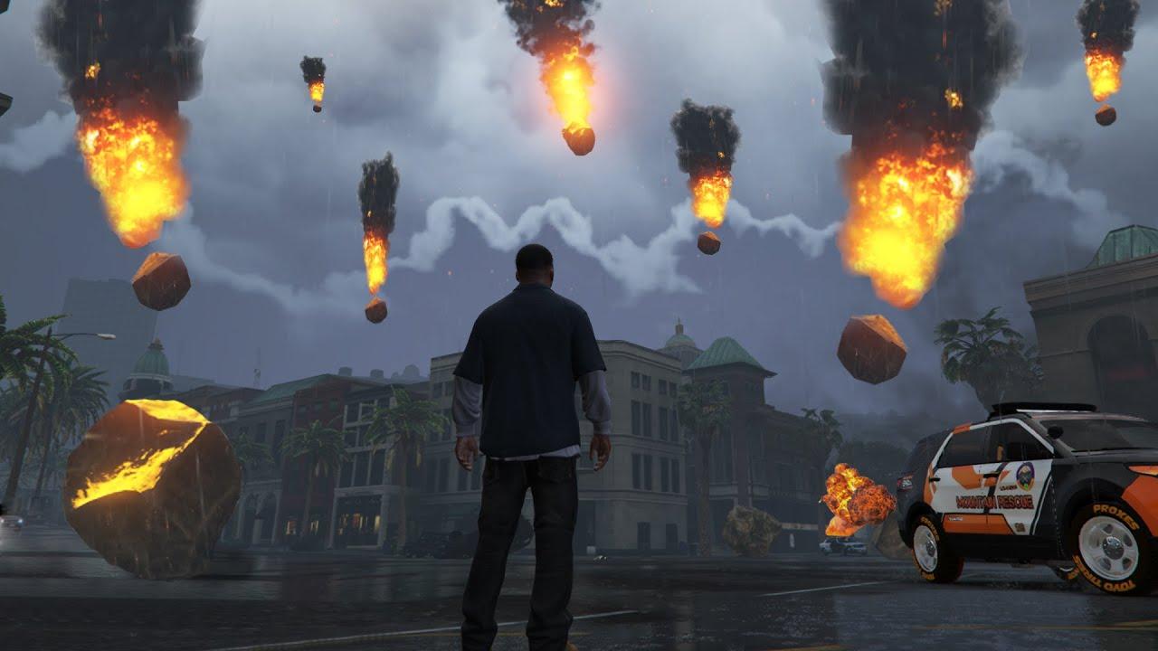 CRAZY METEOR SHOWER APOCOLYPSE MOD! INSANE DESTRUCTION (GTA 5 PC Mods)