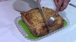 Блинный пирог с курицей и грибами на Масленицу, очень вкусно!