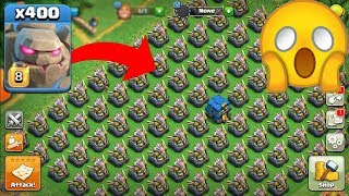 400 Golem max VS 100 Aagle Artillery max coc on funny attack 2018