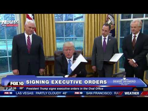 WATCH: President Trump Signs Executive Orders In The Oval Office