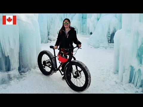 FAT BIKING TO AN ICE CASTLE IN CANADA 🇨🇦 Edmonton Travel Vlog