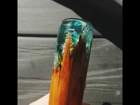 Wood resin hair accessories   Ocean hair fork byFlowerFox