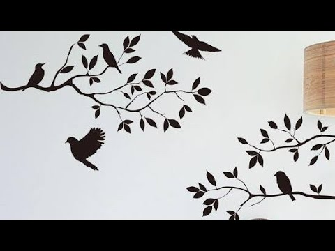 Diy Wall Painting Room Decoration Idea Birds Wall Drawing Room Decor Bird Tree Painting Youtube