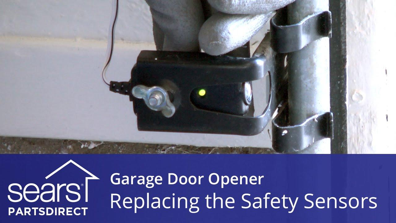 replacing the safety sensors on a garage door opener youtube rh youtube com chamberlain garage door sensor wiring garage door safety sensor wiring [ 1280 x 720 Pixel ]