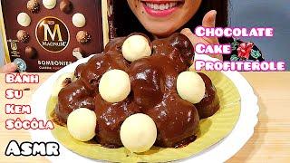 ASMR Chocolate Cake Profiterole & Magnum Bomboniera Eating Sounds