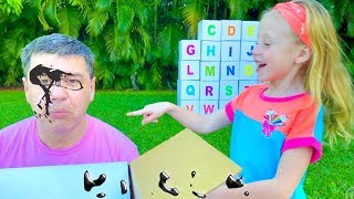 Nastya and dad learn the English alphabet