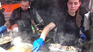 Cooking Chicken and Halloumi Cheese Salad. London Street Food