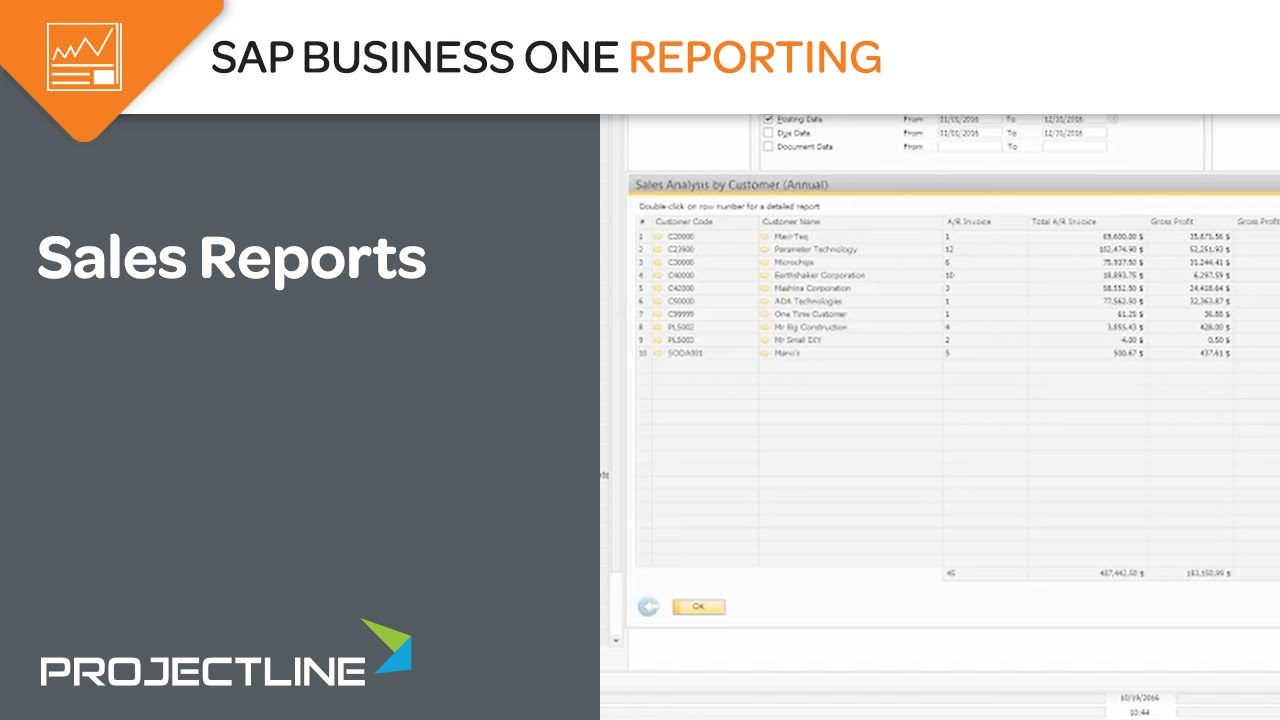 standard sales reporting in sap business one youtube