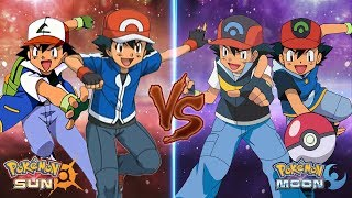 Pokemon Sun and Moon: Kalos Ash and Johto Ash Vs Sinnoh Ash and Hoenn Ash