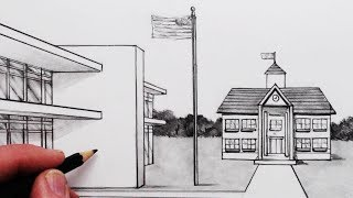 Learn How to Draw a School in 1-Point Perspective in this Step by S...
